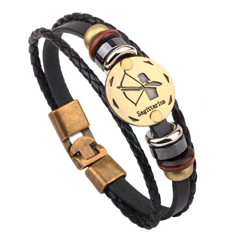 2019 nowy mody 12 konstelacji bransoletka dla mężczyzn Handwork kobiety skórzane bransoletki bransoletki uroczy łańcuszek do mankietów biżuteria prezenty