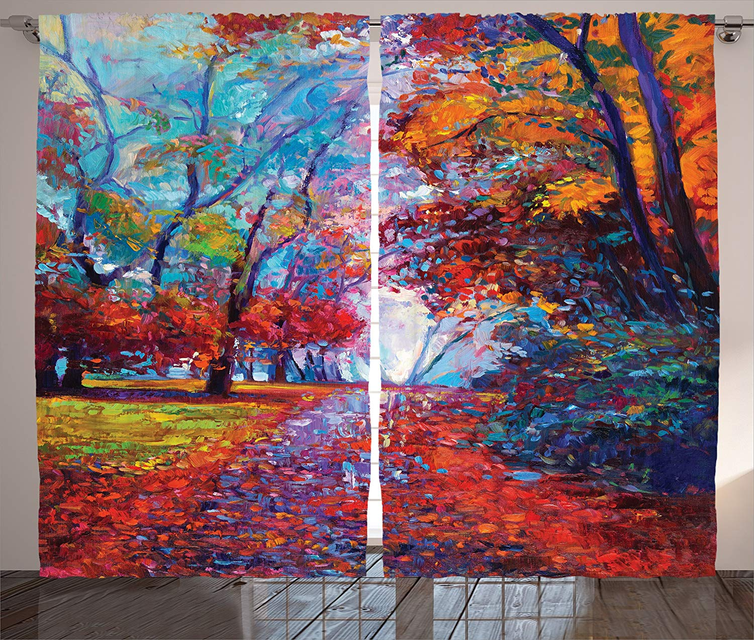 Us 13 62 35 Off Country Curtains Colorful Fairy Paint Of Park In Fall Arts View Of The Earth And Trees In The Nature Living Room Bedroom Decor In