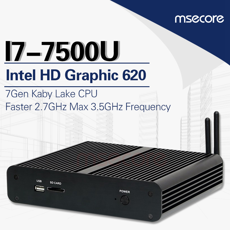 MSECORE Fanless Intel core i7 7500U Gaming Mini PC i5 Finestre 10 Computer Desktop linux Nettop barebone HTPC HD620 4 k 300 m WiFi