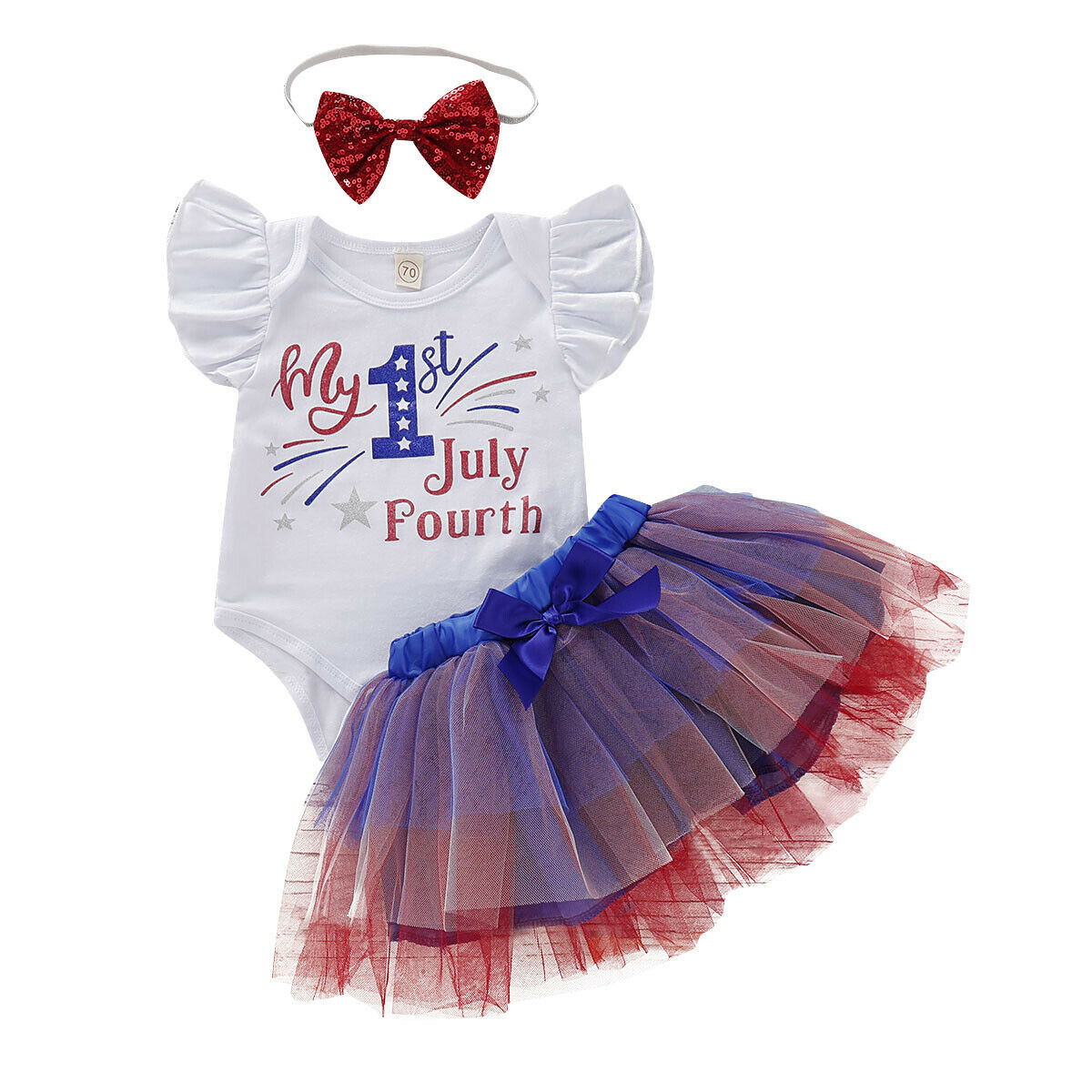 Infant Baby Girl Kids Ruffle Lace 4th Of July Sleeveless Romper Jumpsuit Outfit