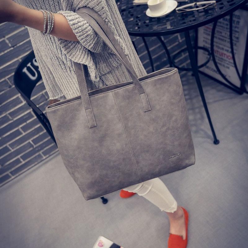Fashion Women Famous Brands Large Capacity PU Leather Bucket Tote Handbags Shou