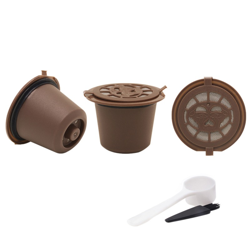 3PCS/Set Reusable Refillable Nespresso Coffee Capsule With Plastic Spoon Filter Pod and Brush 20ML Filters Kitchen Dining Bar