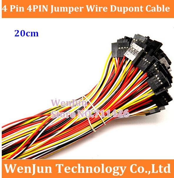 100PCS Free Shipping  DuPont  2.54mm 4P 4pin Jumper Wire Dupont Cable High Quality 26AWG Wire  20cm