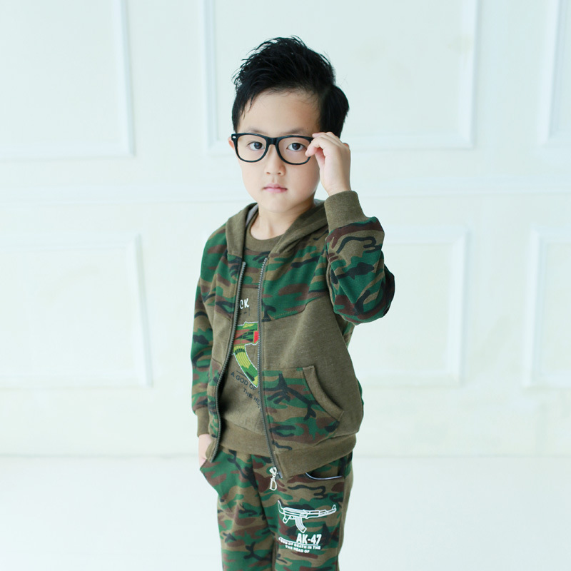Boys Camouflage Sports Suit Hooded 3pcs Hooded Jacket+T-Shirt+Pants Boy Spring Teen Tracksuits Children Clothing 3 5 6 8 10 12 y