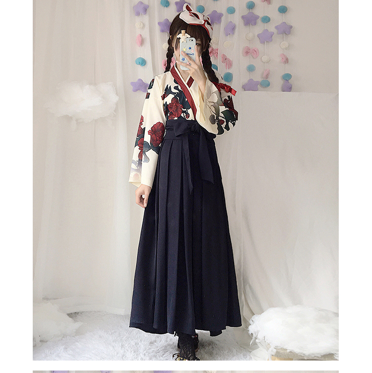 Girls Japanese Style Retro Kimono Floral Long Sleeve Woman Party Dress Summer Fashion Outfits Top Bow Skirt Haori for Female 8