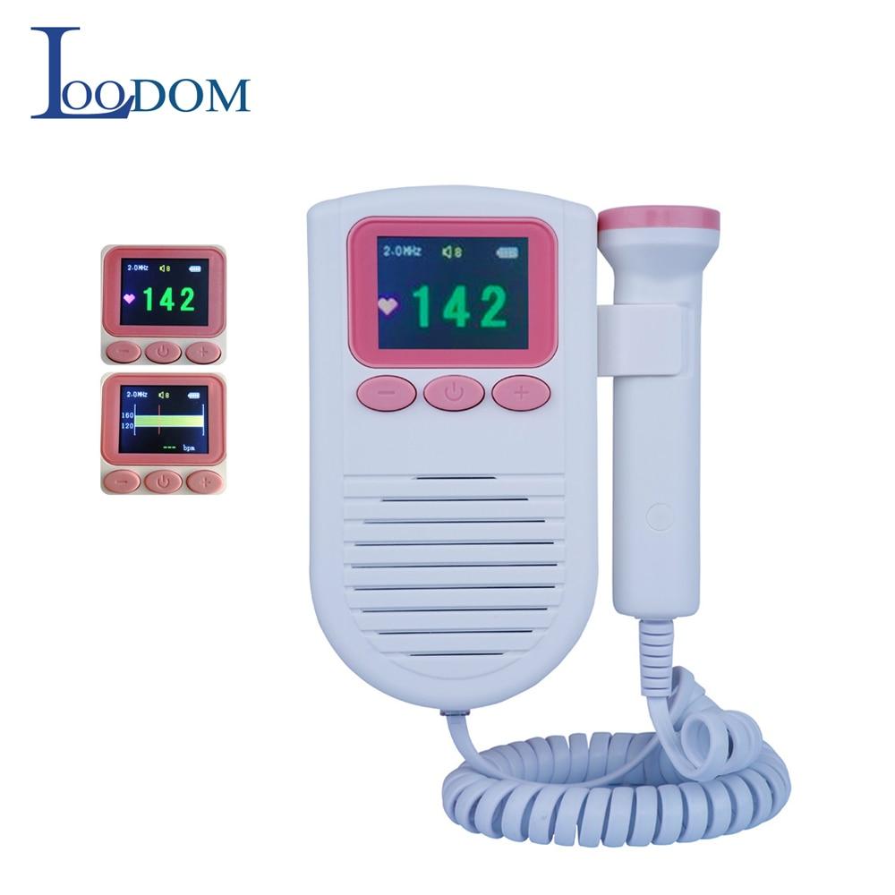 Fetal Doppler Ultrasound Pregnant monitor 2MHz probe Alarm Baby Heartbeat Sound