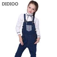 Denim Kombinezony Kombinezony Dla Dziewczyny Jeans 2017 Jesienne Spodnie Dzieci dorywczo Studentów Spodnie Pajacyki Dla Dzieci 4 5 7 9 11 12 Lat