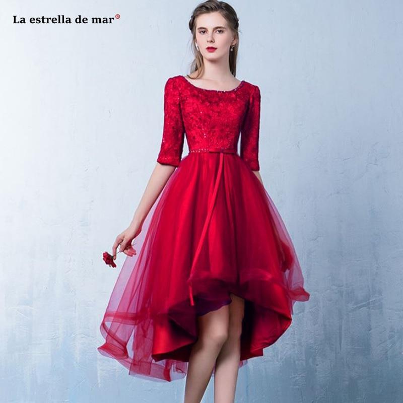 Vestidos Fiesta Boda2019 New Lace Scoop Neck Lace Half Sleeve Red Burgundy High Low Bridesmaid Dress Tea Length Robes Demoiselle