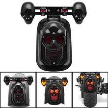 Triclicks Motorcycle Skull Turn Signal Light Rear Brake Tail For Harley Sportster Dyna Glide Honda Shadow VT750C VT750DC