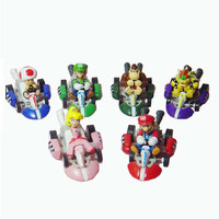 Recuerdos de la infancia de Karts Tire Hacia Atrás de Coches de Super Mario Bros Acción PVC Figure Collection Modelo Juguetes Muñecas 6 unids/set Envío Gratis