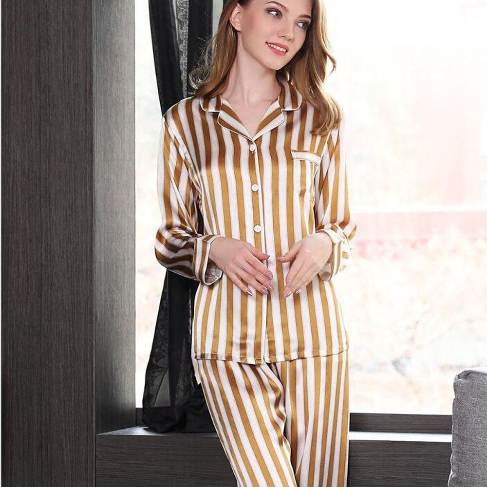 CEARPION Women Striped   Pajamas     Set   Female Elegant Home Wear 100% Silk Women 2pcs Shirt+PantS SleepWear Daily Night Wear
