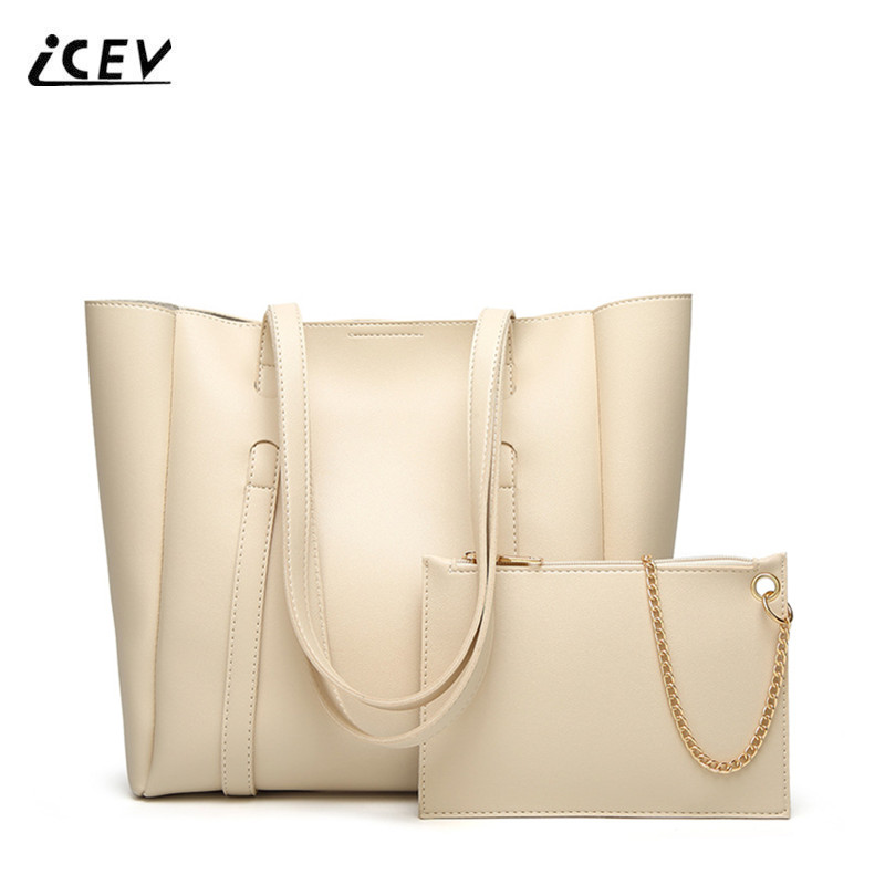 Icev New European Fashion Simple Casual Women Leather Handbag Bags Handbags Famous Brands Las Office Totes Set Sac