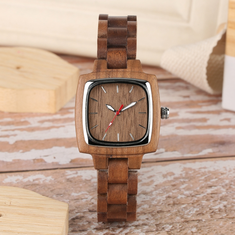 Retro Wood Women Watch Unique Square Circle Dial Design Full Wooden Bracelet Woman Ladies Clock Quartz Wristwatch dames horloges 2019 2020 2022 (2)