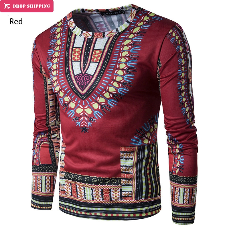 (Fast Shipping) Iki Fashion Design African Traditional Printed Cotton Dashiki T-Shirts For Unisex (Made In Thailand)