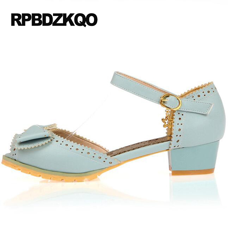 Size 4 34 Blue Ladies Sandals Bow Thick Pumps Fish Mouth 2017 Cute Peep Toe High Heels Shoes Low 33 Ankle Strap New Chinese sandals casual peep toe fashion ankle strap wedge high heels pumps platform fish mouth size 4 34 small shoes suede women black