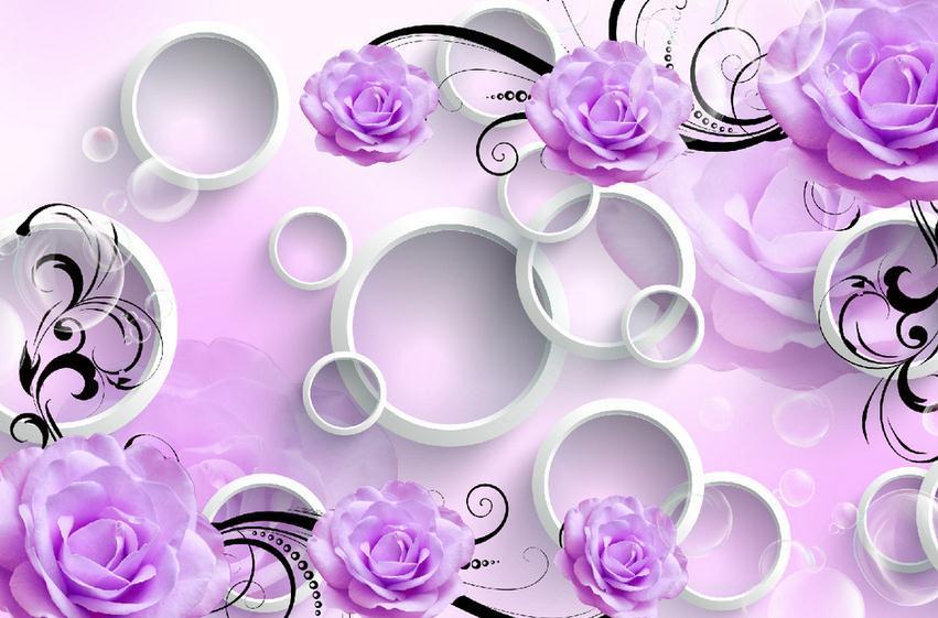 Customize Size High Quickly Hd Mural 3d Wallpaper Wall Purple Flower