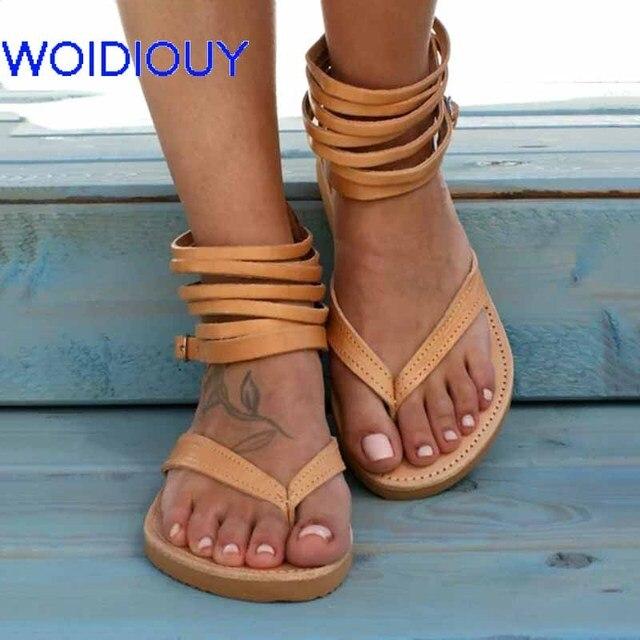 fed57e948 Women Sandals Handmade Greek Zipper Gladiator Sandals Slides Summer Flat  Casual Summer Shoes Female Flat Sandals Beach Shoes