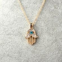 1 шт. турецкий кристалл сглаза рука подвеска с амулетом Хамса ожерелье женское Серебро Золото Цвет ювелирные изделия выдалбливают ключицы звено цепи