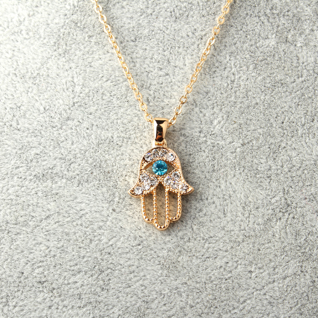 1 PC Turki Kristal Mata Jahat Tangan Hamsa Pendant Kalung Womens Perhiasan Perak Warna Emas Melubangi Link Rantai Klavikula
