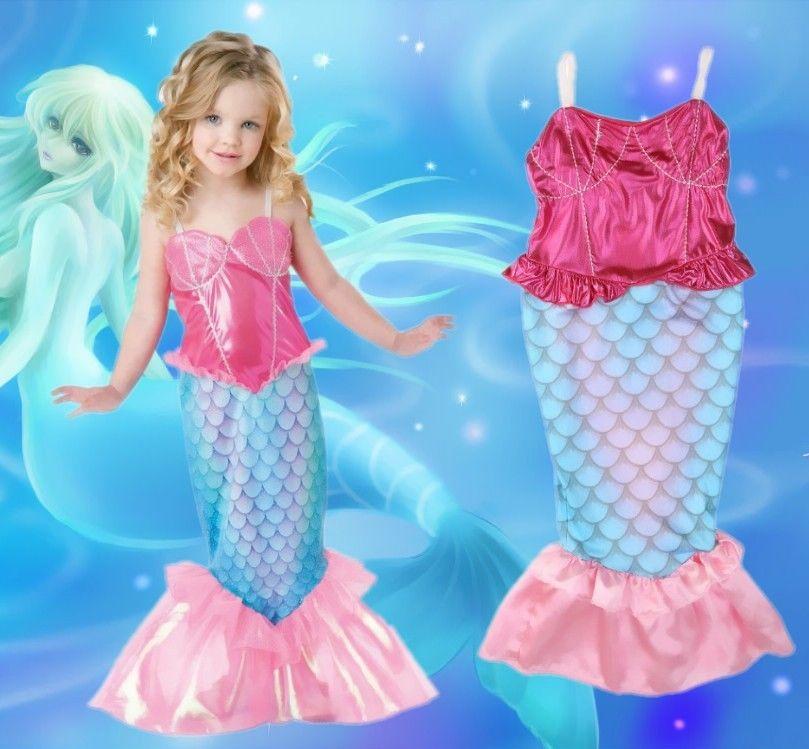 Little Mermaid Kids Girls Tail Bathing Swimsuit Beach Costumes 4-12Y little mermaid