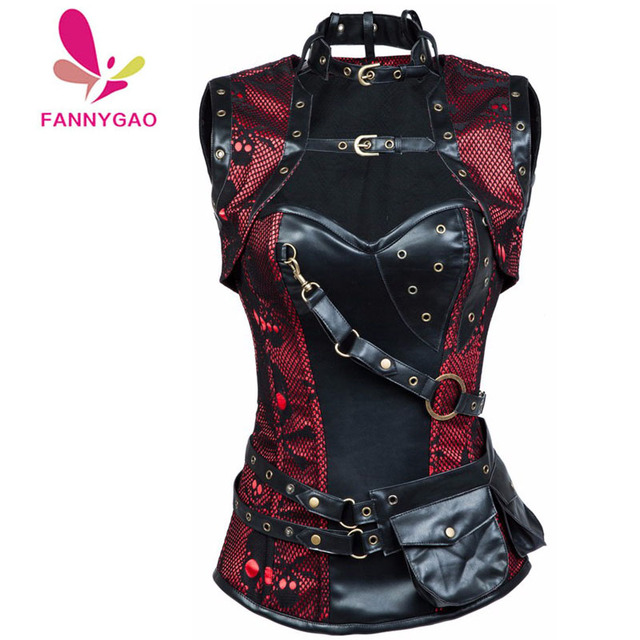 8306f9a8166 New Sexy Women Red Black Skull Pattern Steampunk Corset Punk Faux Leather Steel  Boned Bustiers Lace