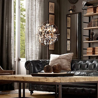 Moderne wrount Iron Globe Crystal Retro Designer Rh Loft Industrial Style Floor Lamp standing lamp