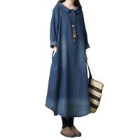 New Fashion Long sleeve Denim Dresses Women 2019 Spring Autumn Large size Loose Jeans Dresses Female Lengthen Denim Dresses 2619