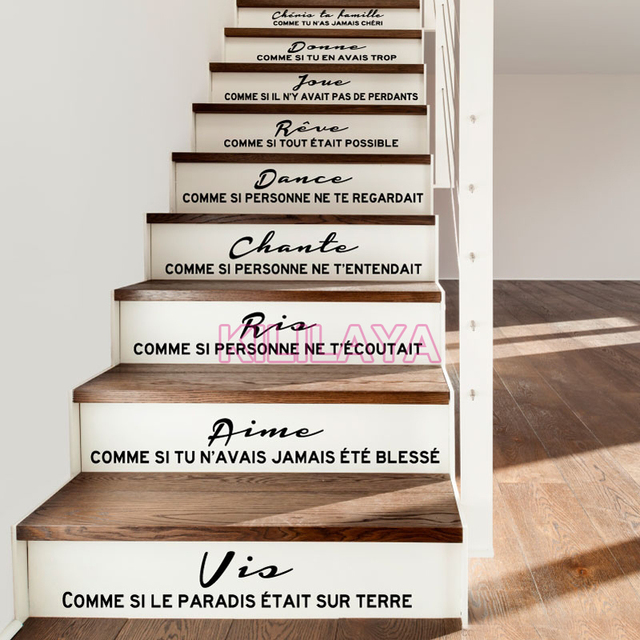Stairs stickers decals french citation cheris ta famille - Stickers contremarche escalier ...