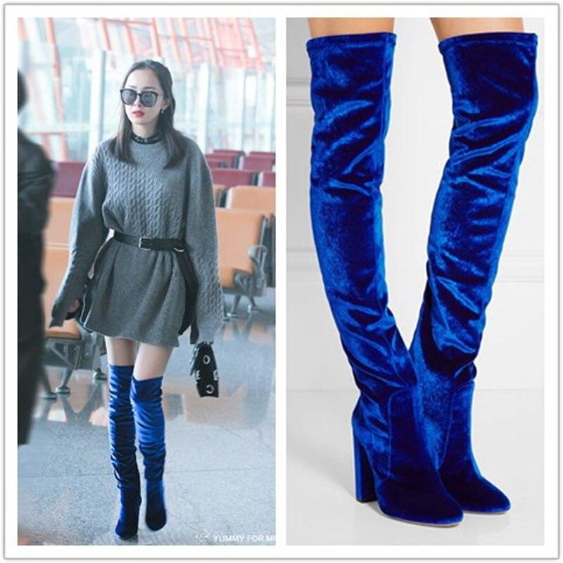 New Arrival Autumn Winter Velevt Party Dress Shoes Women Round Toe High Heel Botas Vintage Zipper Detail Thigh High Boots