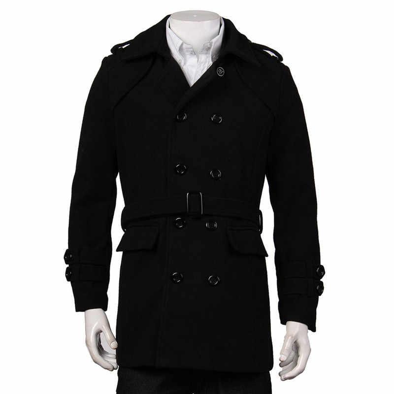 Зимние мужские куртки Черный Серый Тренч из искусственной шерсти кардиган Деловая одежда приталенный двубортный с поясом длинное пальто ветровка