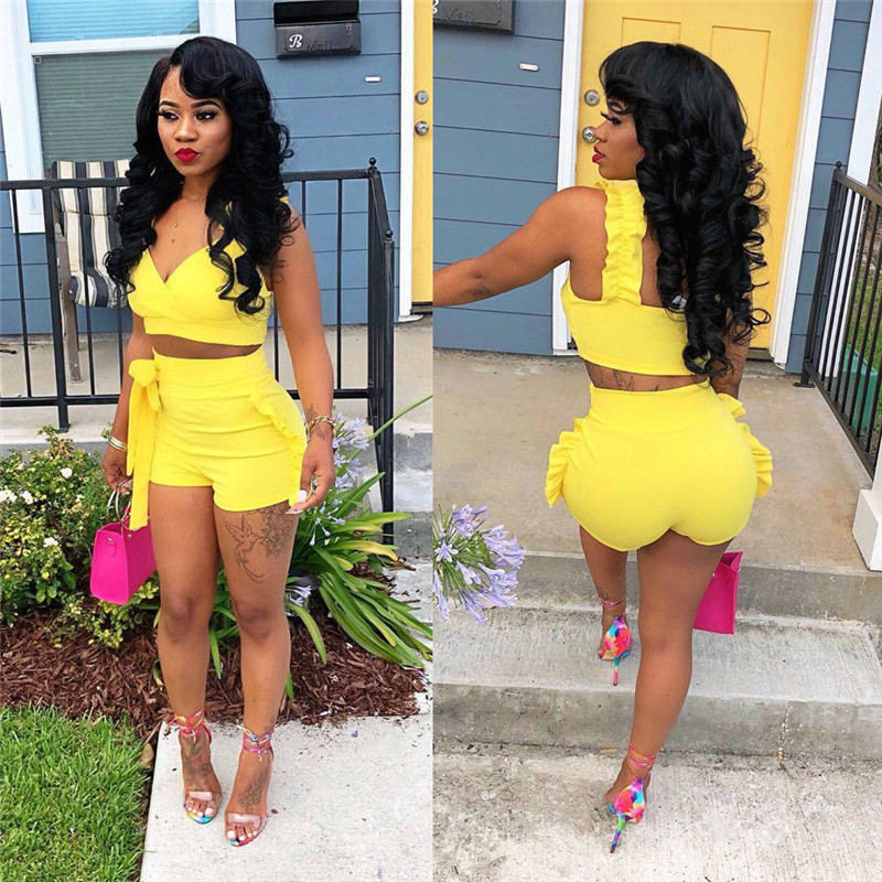 2019 Two Piece Set Summer Women Crop Tops High Waist Shorts 2pcs Ruffles Bow Outfits Ladies Yellow Slim Matching Clothes Sets