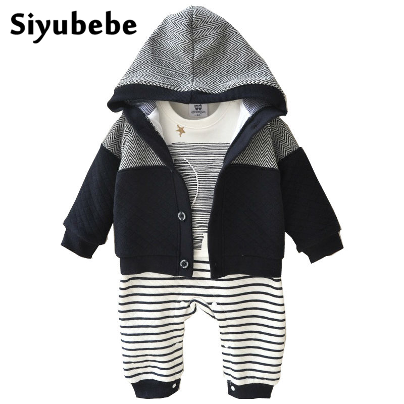 Baby Boy Clothes 2PCS Set Winter Newborn Baby Clothes Thicken Cotton Romper+Coat Baby Rompers Infant Jumpsuit Boy Clothes 0-12M 2pcs set baby clothes set boy