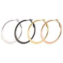 MxGxFam титановая сталь плоские круглые серьги(1 пара) ювелирные изделия для мужчин и женщин 18 К/черный/белый/розовое золото цвет