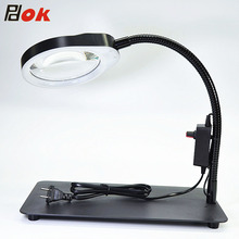 купить Wholesales PDOK 5x 8x 10x Magnifying Glass Multi-functional Desk Magnifier Lamp Flexible Loupe With Light Magnifying Glass Tool дешево