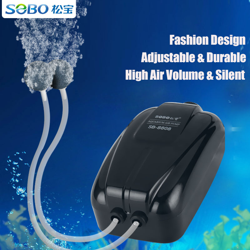 Sobo Ultra Silent Air Pump For Aquarium Fish Tank Double Outlets