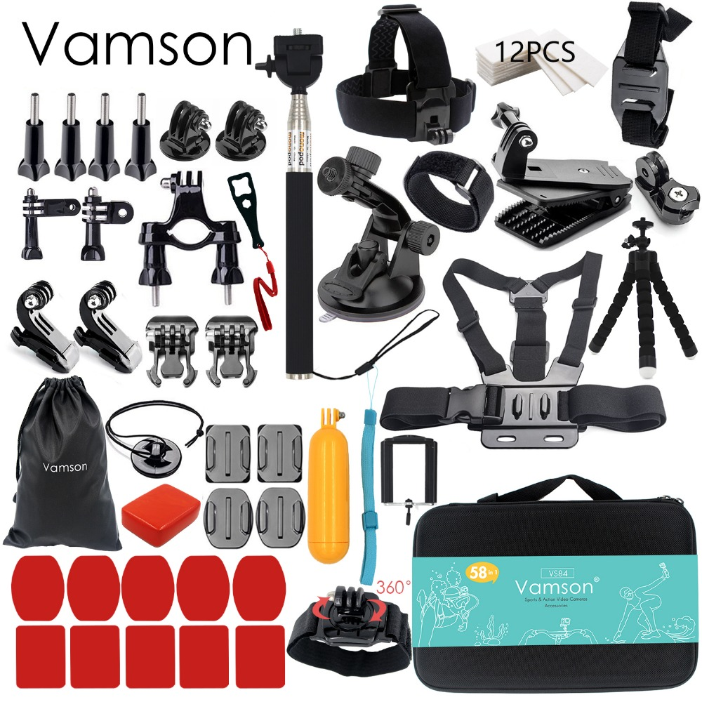 Vamson for Gopro Accessories set for go pro hero 6 5 4 3 kit mount for SJCAM for SJ4000 / for xiaomi for yi 4k for eken h9 VS84 gopro accessories head belt strap mount adjustable elastic for gopro hero 4 3 2 1 sjcam xiaomi yi camera vp202 free shipping
