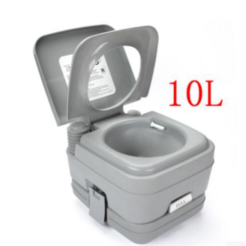 10L Portable Camping Toilet Flush Porta Travel Vehicle Boat Toilet Potty Gray
