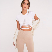 Summer Italy hot fashion personality round neck hole hollow navel short sexy female T-shirt