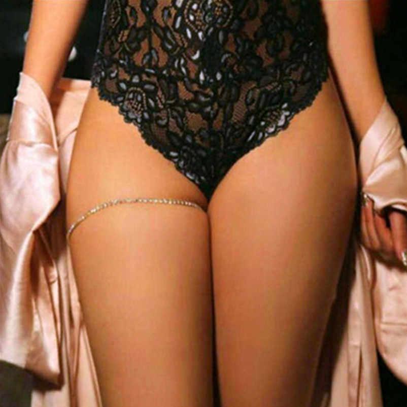 סקסי נשים גוף שרשרת זהב-צבע קריסטל רגל צמיד שרשרת ירך גוף J ביקיני חוף רגל תכשיטי אביזרי x163