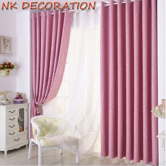 Online Shop NK DECORATION Cute Pink 1 Panel Star Blackout Curtains For Bedroom Living Room Curtain Kids Window 100cm 250cm