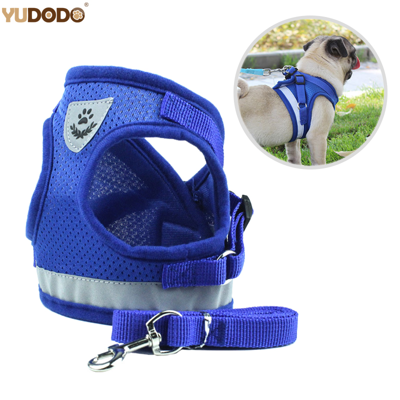 Nylon Dog Harness Leash Set Reflective Small Pet Puppy Cat Vest Harnesses Breathable Mesh Harness For Small Medium Dogs S-XL