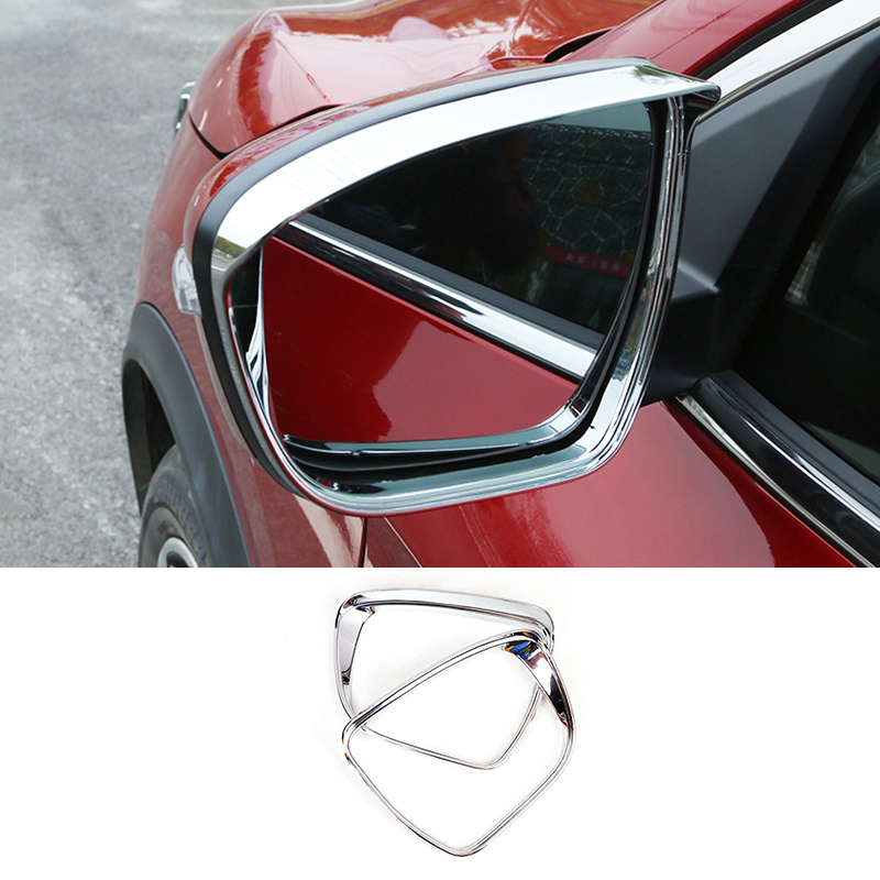 For Nissan Juke 2014 2015 2016 2017 2018 ABS Chrome Rearview Mirror Rain Eyebrow Frame Cover Trim Styling New Accessories 2pcs