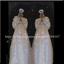 LED Creative Stage Costumes Luminous Festive Angel Wedding Dress Shine Corset Skirt Outfit For Club Party Bar Halloween