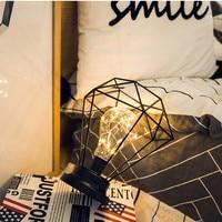 Creative Desk Lamp Iron Bedroom Decoration Photography Prop Lamp Home Decor Ornaments Festival Decor Lights Crafts SA70