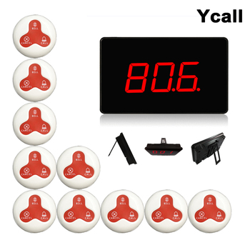 Ycall 433.92mhz Restaurant Pager Wireless Calling Paging System Table Bells Call Button Customer Service K-2000A+K-O3 customer service paging call calling system for pub bars 1pc numeric monitor and 5 call bells