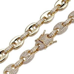 Image 4 - Topgrillz 12 Mm Solid Gold Zilver Kleur Kubieke Zirkoon Link Ketting Bling Mannen Hip Hop Sieraden Koper Iced Link ketting Voor Gift