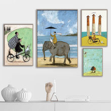Abstract Figure Elephant Sea Landscape Oil Painting Wall Art Canvas Painting Posters And Prints Wall Pictures For Living Room(China)