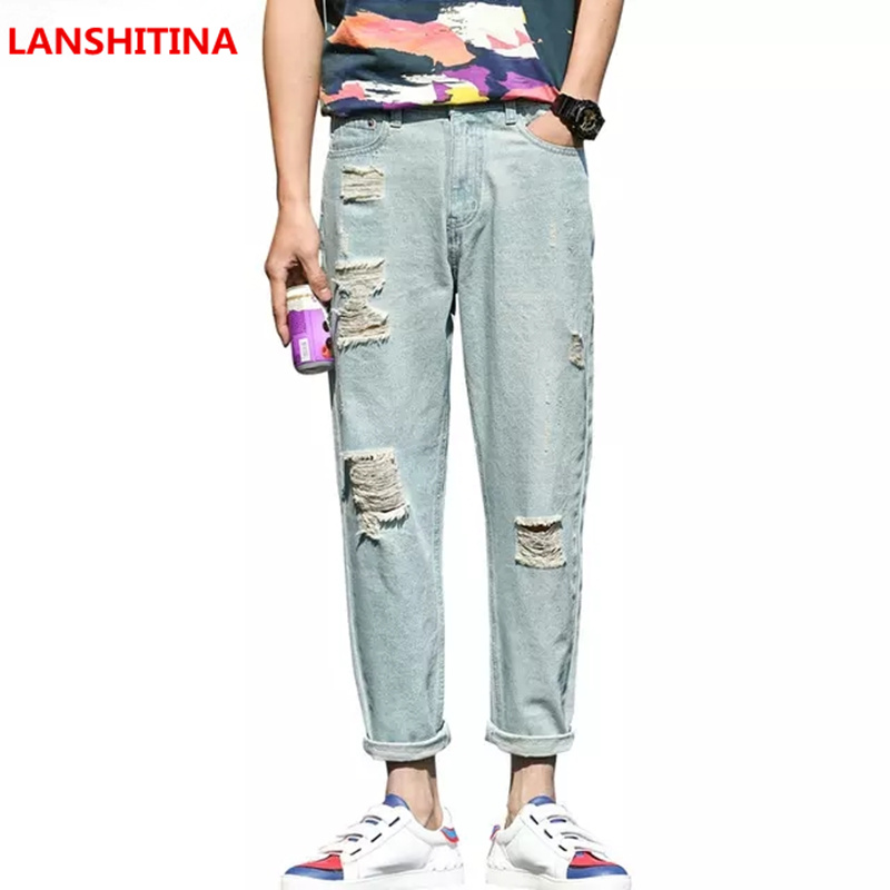 Lanshitina 2018 Summer Vintage Jeans Men Ankle Length Harem Pants Male Retro Loose Ripped Hole Denim