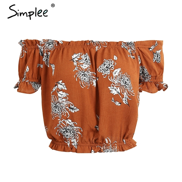 Simplee Sexy off shoulder print blouse shirt Elegant short sleeve flower soft blouse blusas women tops Summer casual streetwear