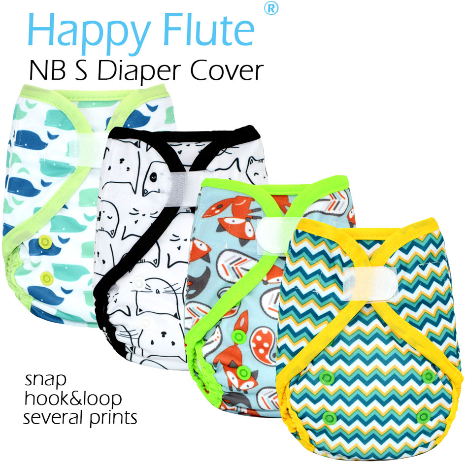 Happy Flute NB/S Cloth Diaper Cover For Baby,double Gussets,fit 3-6months Baby,without Insert